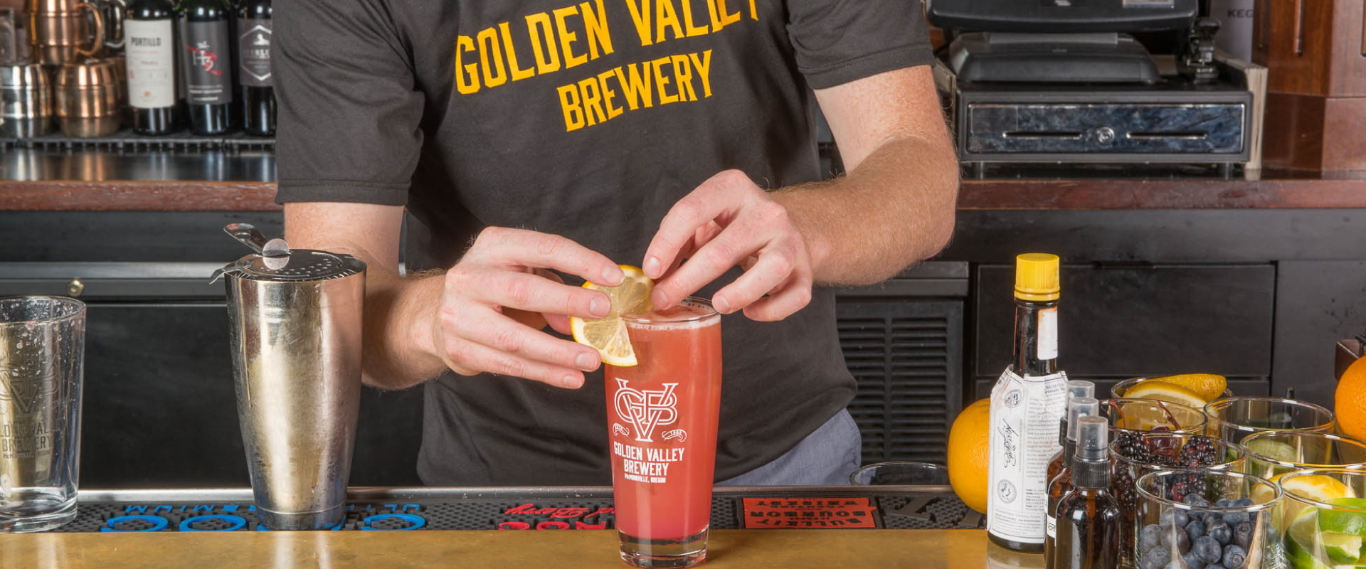 In addition to beer, Golden Valley Brewery & Restaurant features a full bar with siganture cocktails.