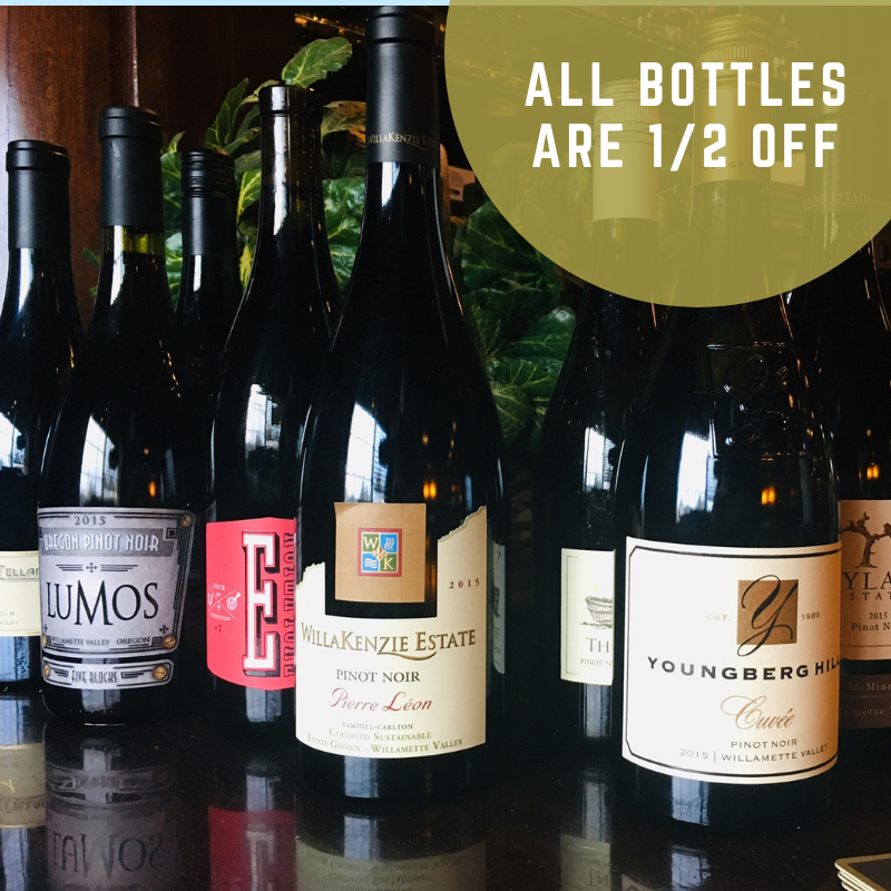 ALL BOTTLES ARE 1/2 OFF